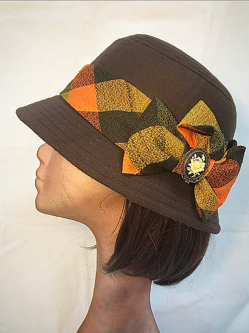Brown checked hat