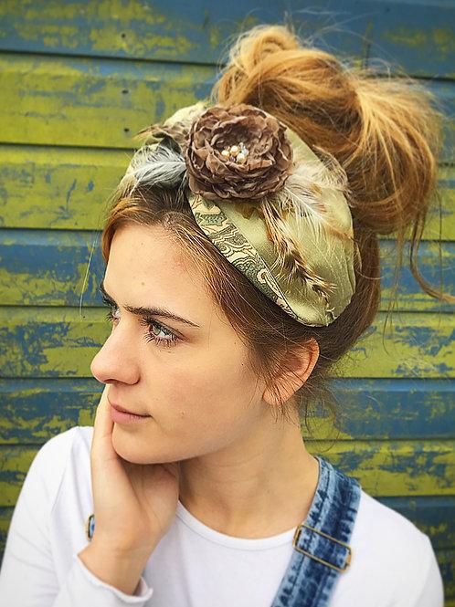 Green vintage flower turban band
