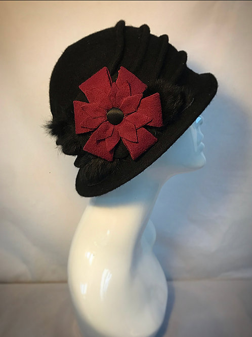 Black and red flower cloche hat