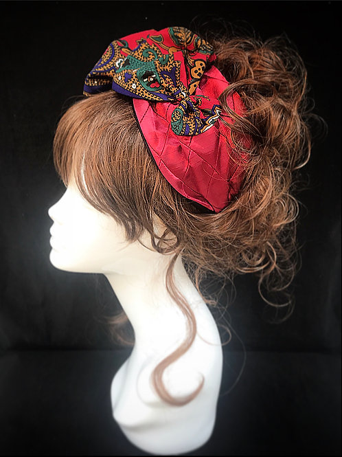 Red satin paisley deluxe turban band