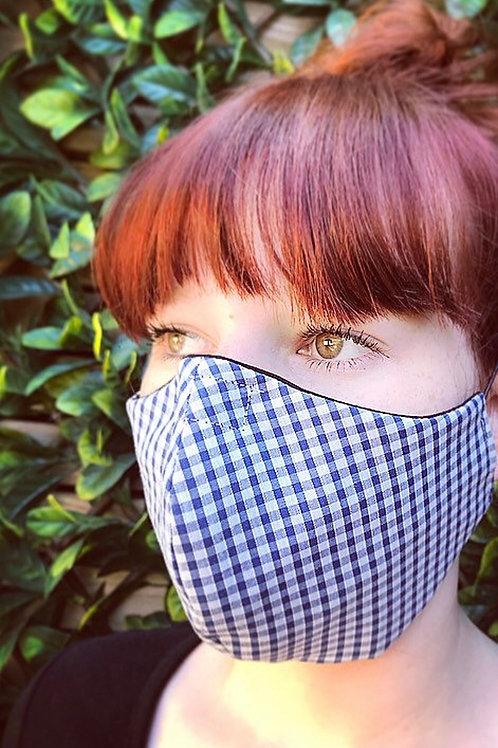 Blue Gingham face mask
