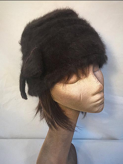 Chocolate brown Angora hat