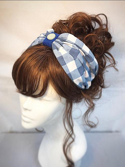 Blue checked turban band