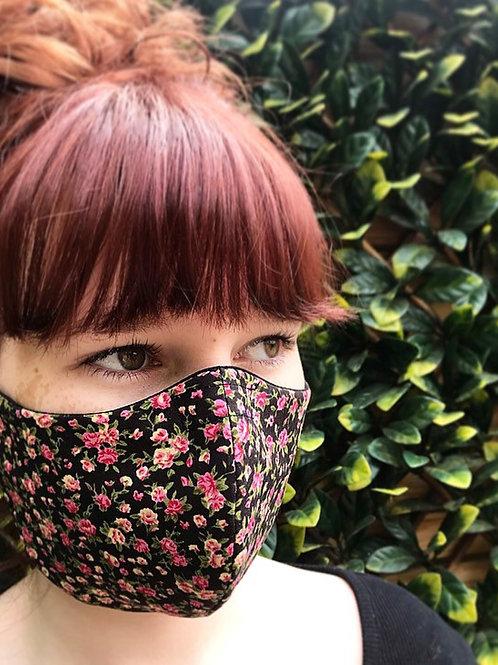 Black ditsy flower face mask