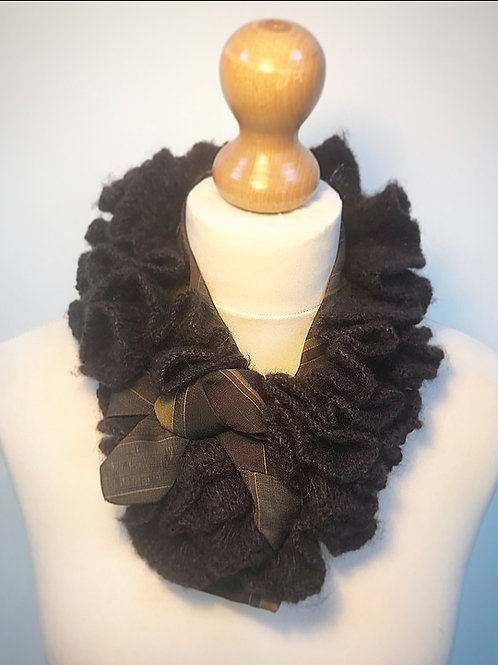 Brown max ruffle cravat