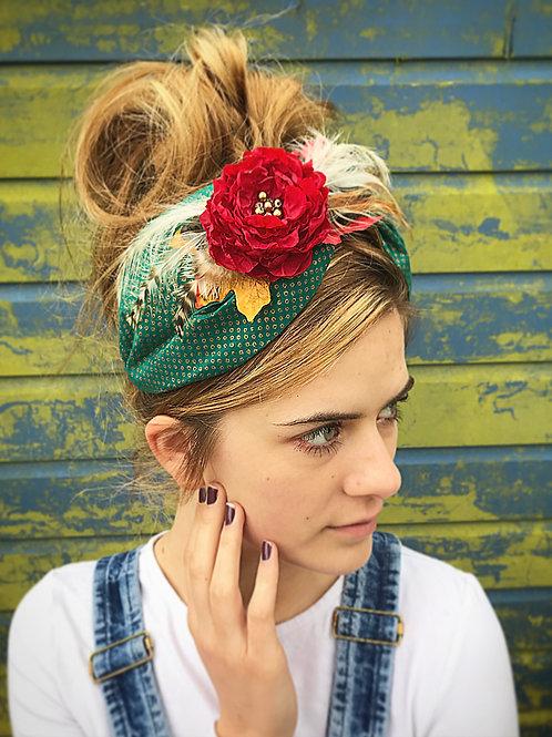 Green floral turban band