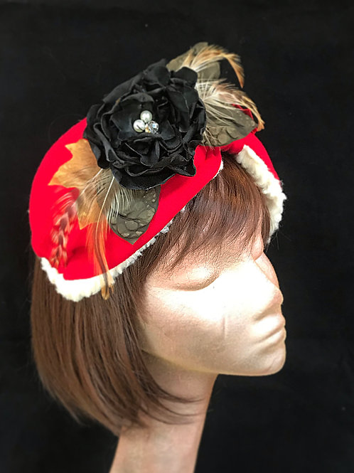 Red black turban flower band