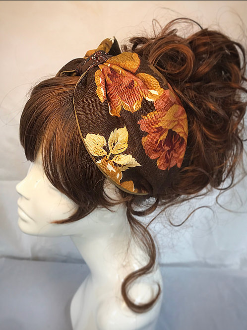 1970s retro floral canvas turban band