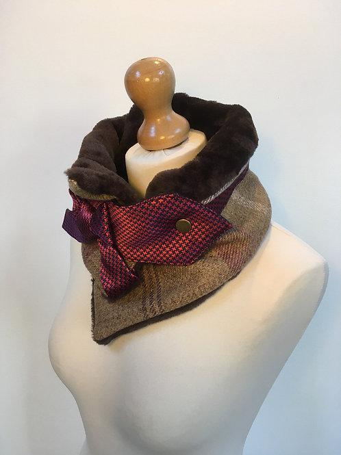 Brown wool red neck warmer