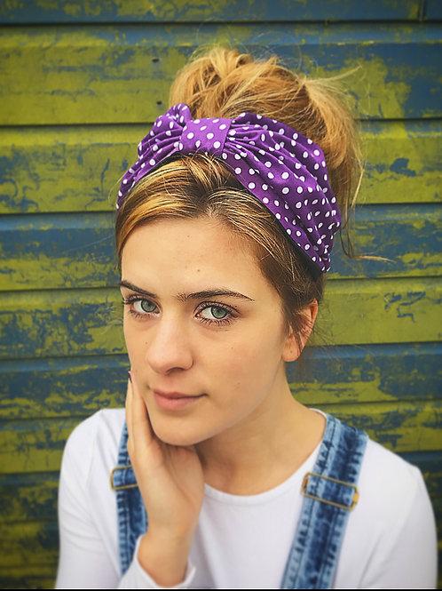 Purple polka dot turban band