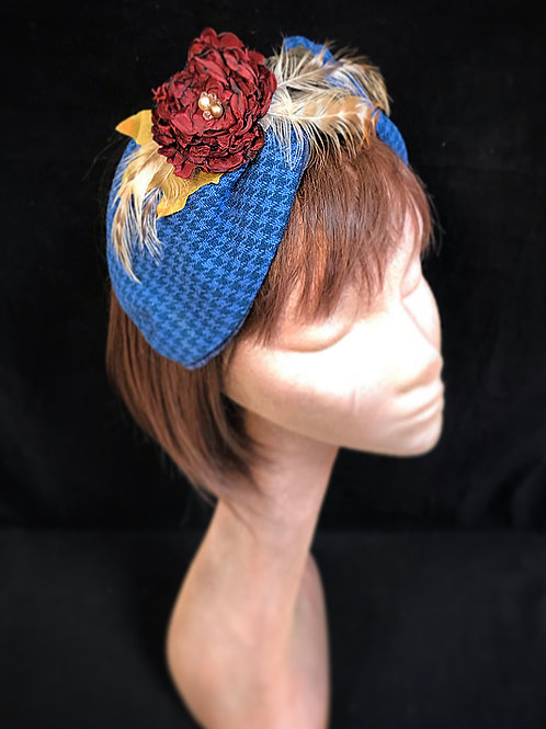 Blue check floral turban band