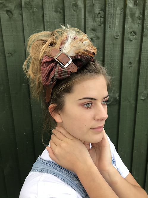 Tweed feather fascinator band