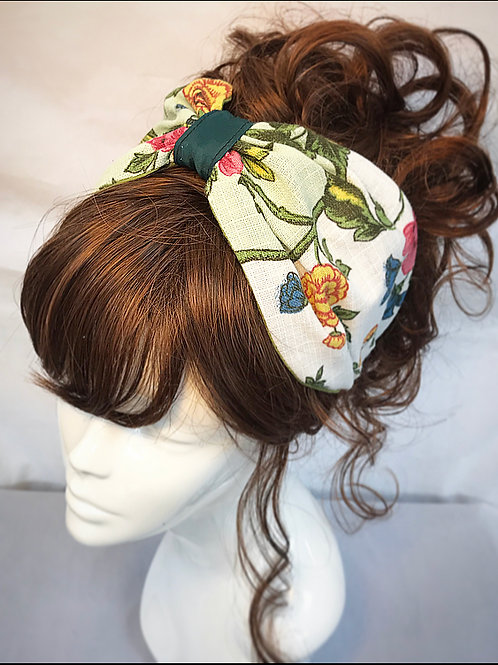 Green floral canvas turban band