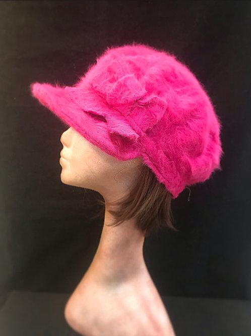 Raspberry pink angora baker boy cap