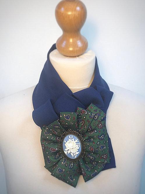 Blue green cameo cravat