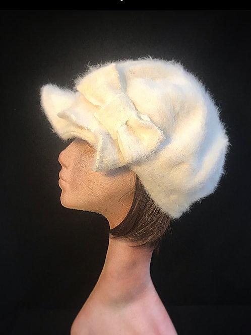 Cream angora baker boy cap