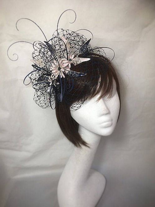 Navy blue fascinator 61