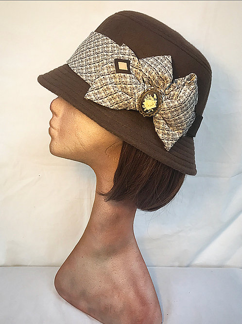 Brown cloche hat