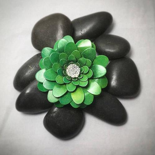 Green flower brooch- clip
