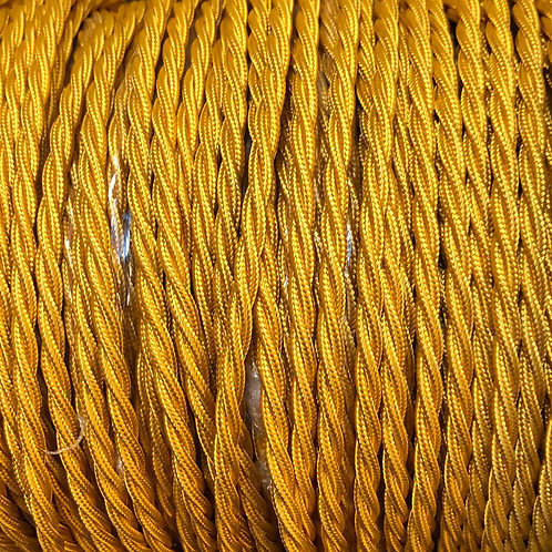 Brass Yellow Twisted Fabric Cable 3 Core £4.95 Per Mt