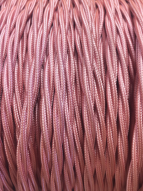 Baby pink twisted fabric 3 core cable
