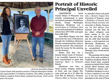 George Washington Henderson Portrait unveiling for Craftsbury VT High School