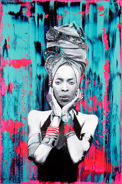"Badu - 24""x12"" Giclee on Canvas. Open edition"