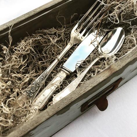 couvert vintage en métal argenté