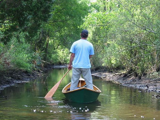 A classsic, wide-beamed Cajun pirogue operating is very shallow water.