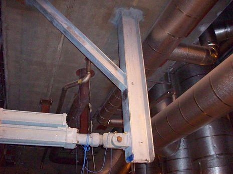 strain gage testing through a steam pipe support