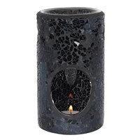 Black/Silver Crackle Oil Burners Pillar