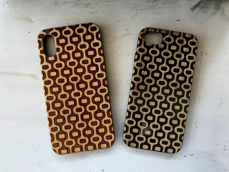Real Wood Engraved Phone Cover - Geometric Oval