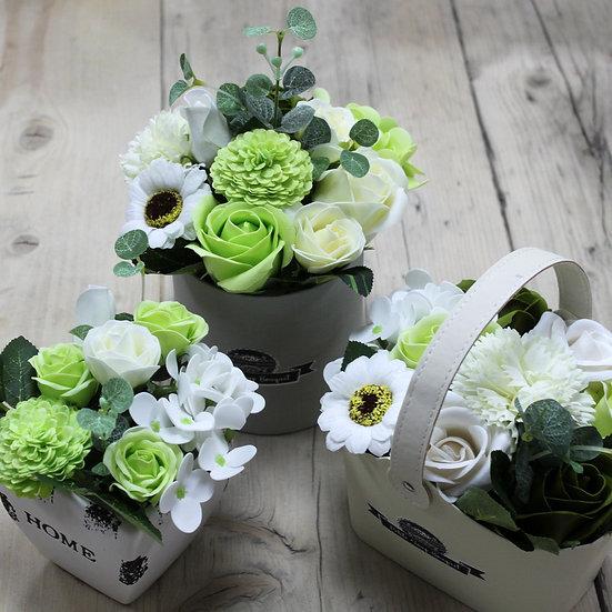 Luxury Handmade Soap Flowers, Petite Gift Pots