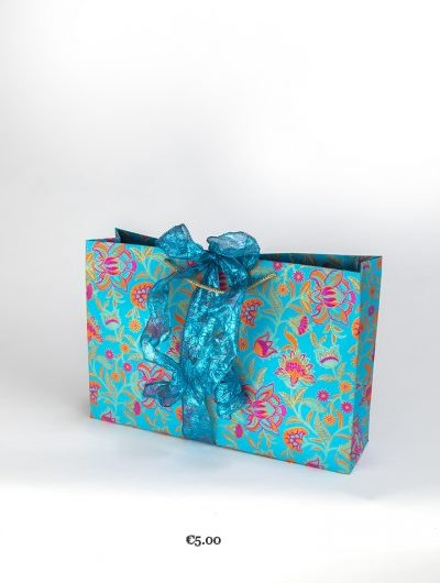 Turquoise Handmade Floral Twist Shopper/Jumbo
