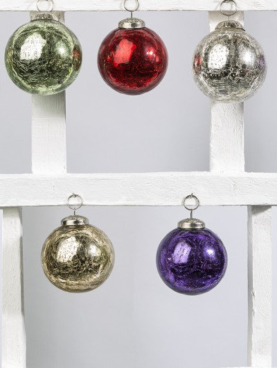 Recycled Crackled Glass Bauble