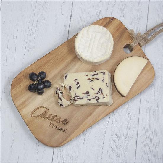 Solid Acacia Wood 'Cheese Please' Cheeseboard