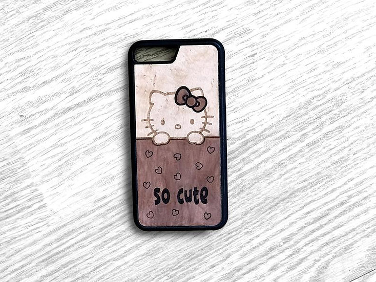 Real Wood Marquetry Phone Cover - Hello Kitty