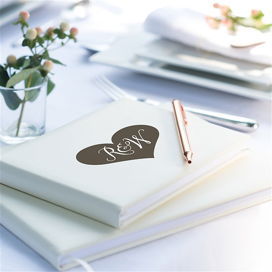 Personalised Leather Initials Wedding Guest Book