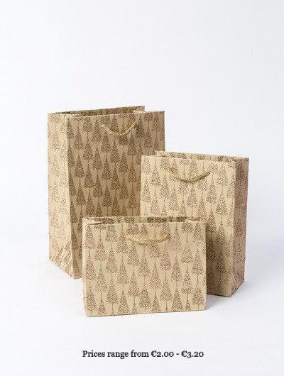 Gold Handmade Glitter Tree Gift Bags