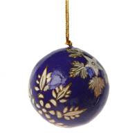 Hand Painted Christmas Baubles - Blue & Gold