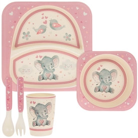 Bamboo Baby Dinner Set - Pink & Cream