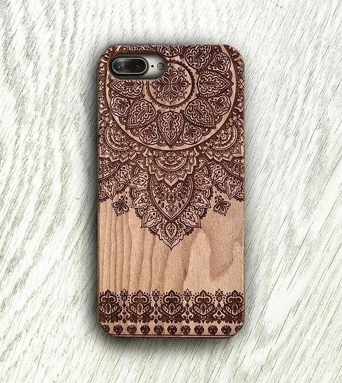 Real Wood Engraved Phone Cover - Mandala