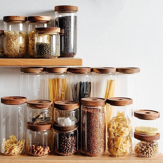 Cottage Bamboo Glass Jars - 10cm, 15cm, 20cm, 25cm