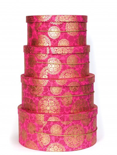 Hot Pink Medallion Hat Box Nest