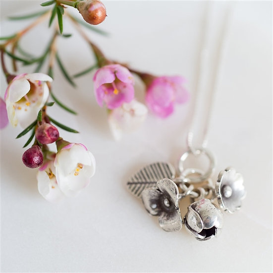 Handmade Sterling Flower Bouquet Necklace