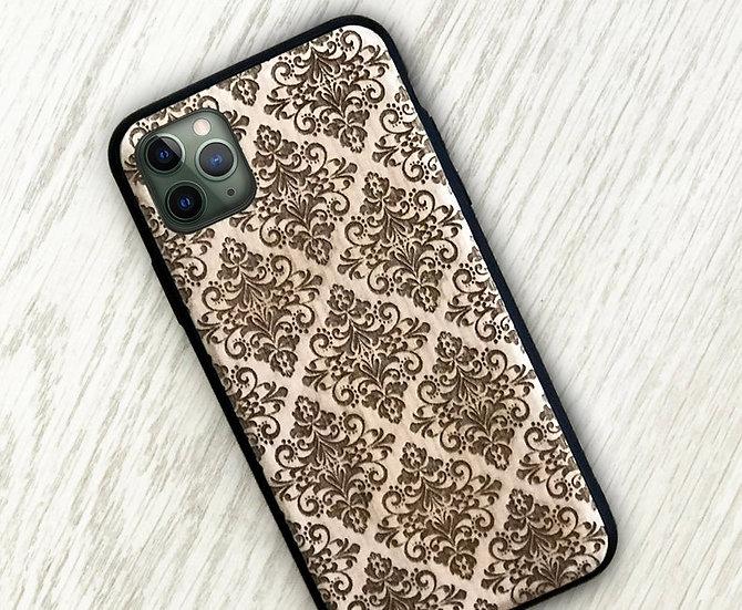 Real Wood Engraved Phone Cover - Damask