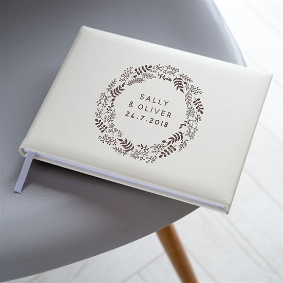 Personalised Leather Wreath Wedding Guest Book