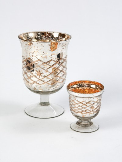 Mercury Glass Footed Candle Holder