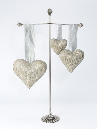 Recycled Embroidered Silver Beaded Hearts