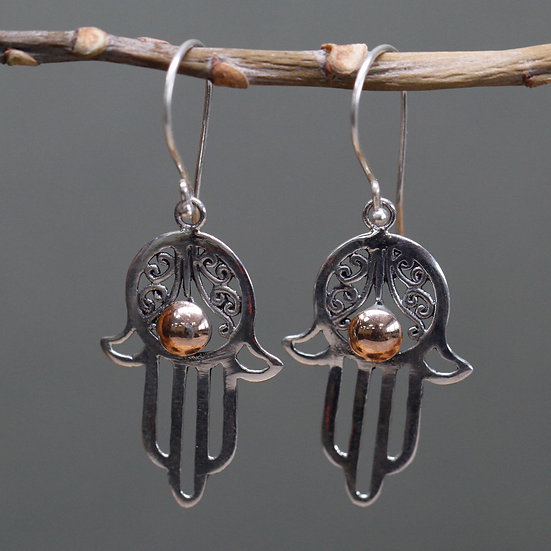 Handmade Silver & Gold Mixed Earrings Hamsa